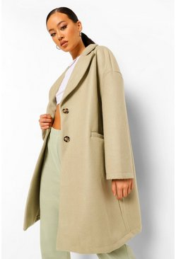 Tailored Wool Look Coat, Sage vert