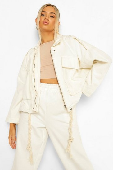 Ecru white Denim Pocket Utility Jacket