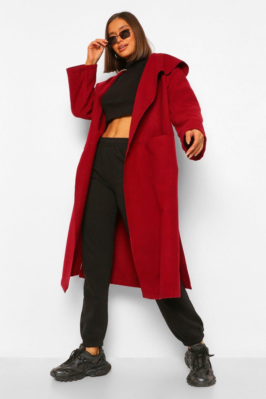 COATS & JACKETS Shawl Collar Oversized Wool Look Coat