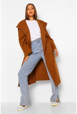 Camel beige Shawl Collar Oversized Wool Look Coat