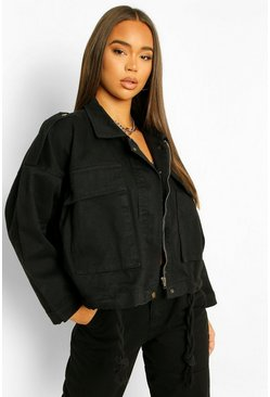 Denim Pocket Utility Jacket , Black noir