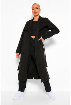 Black Shawl Collar Wool Look Coat