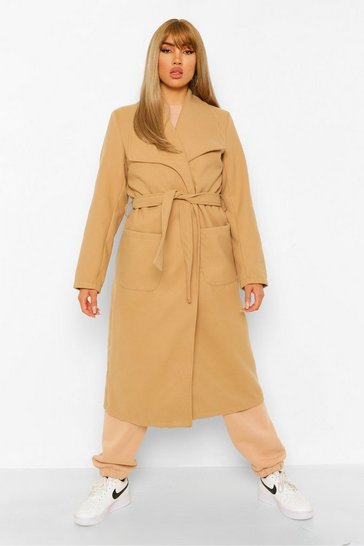 Camel beige Shawl Collar Wool Look Coat