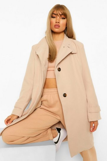Stone beige Collar Detail Wool Look Coat