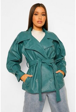 Teal green Oversized Belted Faux Leather Jacket