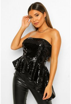 Black Sequin Bandeau Asymmetric Peplum