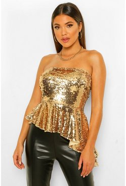 Gold metallic Sequin Bandeau Asymmetric Peplum