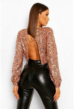 Sequin Chain Back Detail Long Sleeve Top, Gold Металлик