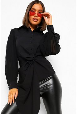 Woven Pleated Twist Front Shirt, Black noir