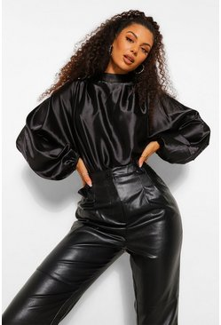 Black Satin Pleated Bodysuit