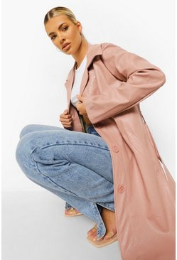 Rose pink Belted Faux Leather Jacket
