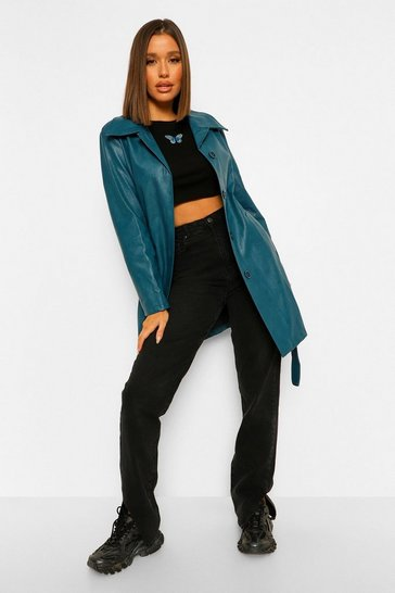 Teal green Belted Faux Leather Jacket