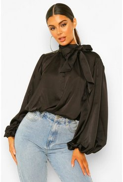 Black Satin Pussy Bow Blouson Top