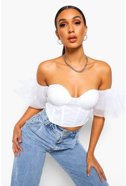 Ivory white Off The Shoulder Organza Top