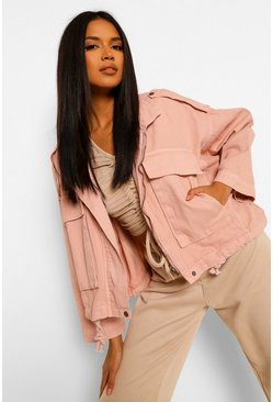 Denim Pocket Utility Jacket , Pink rosa