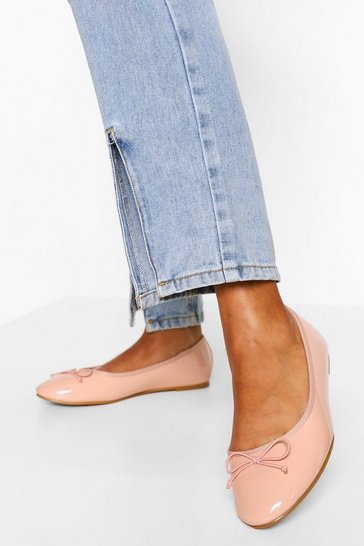 Nude Wide Fit Round Toe Ballet Flats
