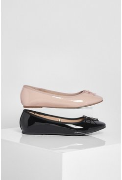Multi 2 Pack Basic Patent Ballet Pumps