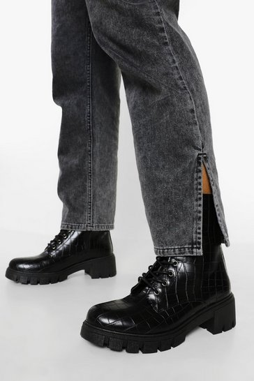 Black Croc Heeled Lace Up Hiker