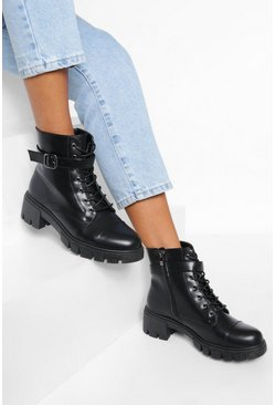 Black Buckle Heeled Lace Up Hiker