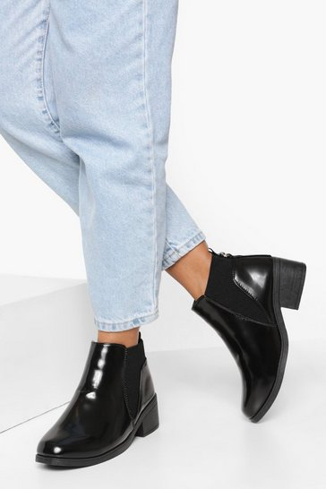 Black Wide Fit Back Detail Chelsea Boot