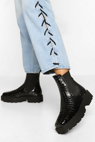 Black Square Toe Croc Chelsea Boot