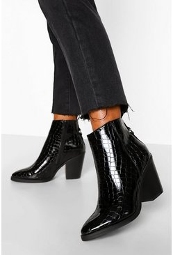 Wide Fit Western Boots, Black noir
