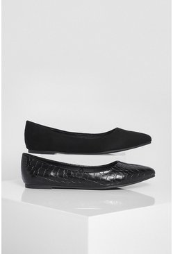 Black 2 Pack Pointed Ballet Pumps