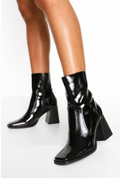 Black Square Toe Croc Ankle Boots
