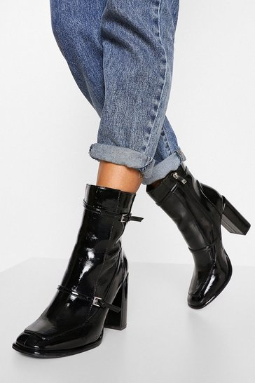 Black Strap Detail Shoe Boot