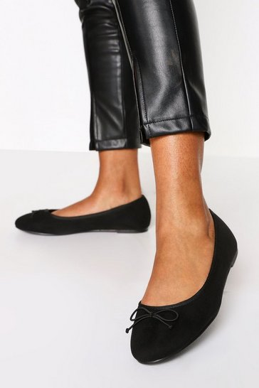 Black Wide Fit Faux Suede Round Toe Ballet Flats
