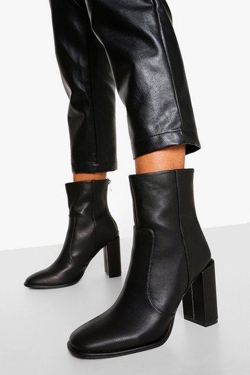 Black Block Heel Platform Boot