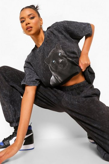 Charcoal grey Acid Wash Panther Print Oversized T-shirt