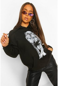 Black Wolf Front And Back Print Oversized Hoody