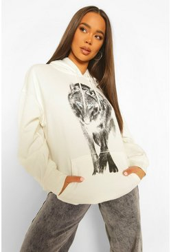 Ecru white Wolf Front And Back Print Oversized Hoody