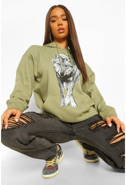 Khaki Wolf Front And Back Print Oversized Hoody