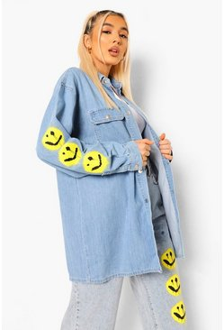 Light blue blue Smiley Graphic Sleeve Oversized Denim Shirt