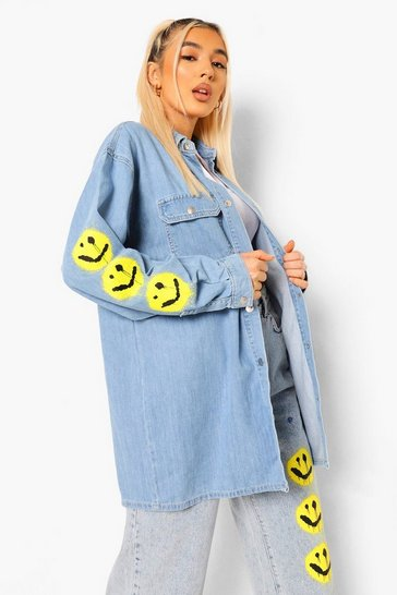Light blue blue Spray Face Sleeve Oversized Denim Shirt