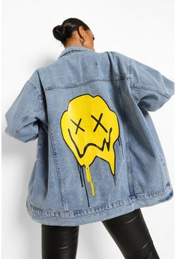 Vintage blue blue Oversized Acid Wash Drip Face Denim Jacket