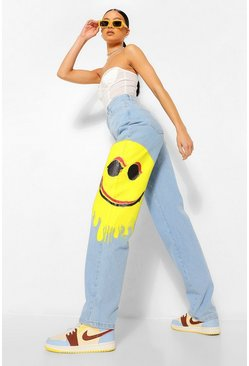 Light blue blue Smiley Print Baggy Boyfriend Jeans