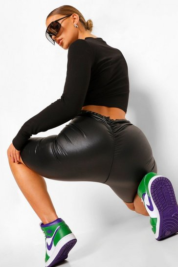 Black Pu Coated Ruched Bum Cycling Shorts