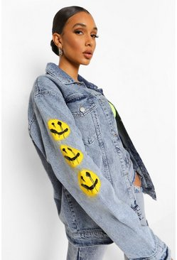 Vintage wash blue Oversized Print Denim Jacket