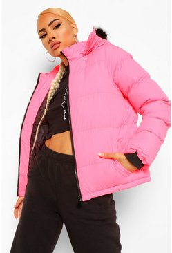 Neon-pink Faux Fur Trim Puffer Jacket