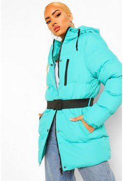 Jade Belt Detail Hooded Puffer Jacket