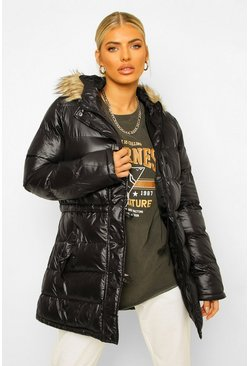 Black Glanzende Parka Jas Met Faux Fur Zoom