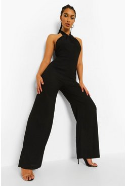 Black Textured Knot Front Wide Leg Jumpsuit