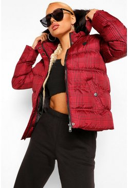 Red Check Faux Fur Trim Puffer Jacket