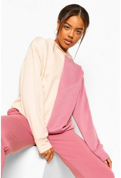 Rose pink Colourblock Oversized Hoodie