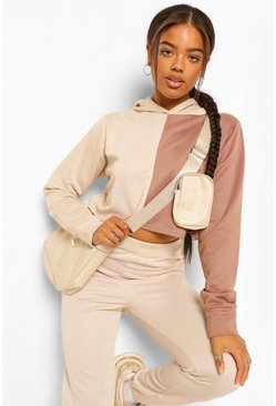 Chestnut Colourblock Cropped Hoody