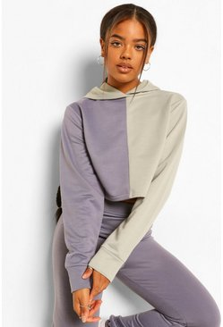 Petrol grey Colourblock Cropped Hoodie