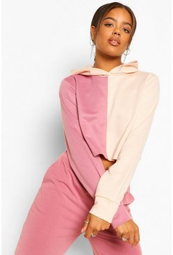 Rose pink Colourblock Cropped Hoodie